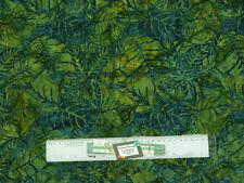 Quilting Patchwork Sewing Fabric BATIK DARK GREEN JUNGLE LEAVES 50x55cm FQ New