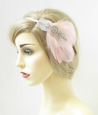 Rose Blush Argent Strass Plume Coiffe Nuptial Vintage 1920s Clair 212