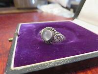 Hübscher 925 Silber Ring Jugendstil Art Deco Vintage Blume Cabochon Mondstein ?