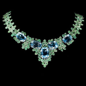 Antique Swiss Blue Topaz 18x13mm Emerald 925 Sterling Silver Necklace 17 Inches