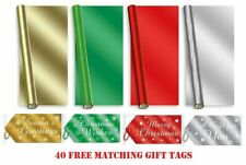 8m Foil Christmas Wrapping Paper Roll Plain Gift Wrap Xmas Birthday Wedding +TAG