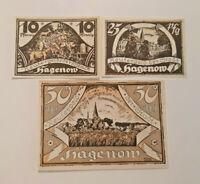 HAGENOW REUTERGELD NOTGELD 10, 25, 50 PFENNIG 1922 NOTGELDSCHEINE (12048)