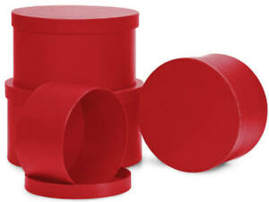1 RED Round Nested Box Matte Gift With Matching RED Tissue Paper Choose Size