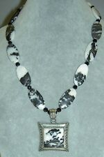 Sterling Silver BA Suarti Bali Black & White Dendritic Agate Crystal Necklace