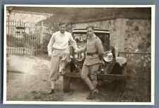 France, Jean et Pierre  Vintage silver print. Armée française. Voiture d'ép