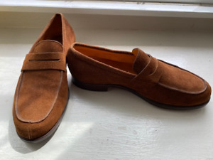 """JOHN LOBB SHOES ~ STYLISH SUEDE CLASSIC """"CAMPUS"""" PENNY LOAFER  ~RETAIL $1400.00"""