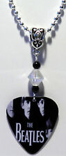 NEW! The BEATLES British Rock Band Guitar Pick Necklace with Beads
