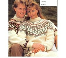 His and Her Chunky Nordic Fair Isle Yoke Sweater & Mitts Knitting Pattern 10001