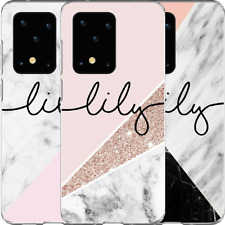 Custom Personalised TEXT Marble Clear Case Samsung S20 S10 S9 S8 S7 S6 Note 10