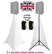 2 piezas blanco doble lado Spandex Lycra venta cañamazo Dj Soporte en trípode cubierta del altavoz