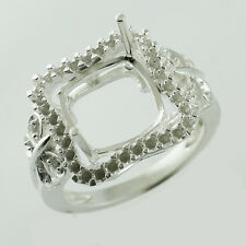 Cushion Shape Semi Mount 10 MM Ring Sterling Silver Woman Fashion Event Jewelry