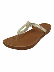 Fitflop Womens Strata Toe Thong Sandal Shoes, Gold Mirror, US 8