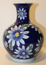 "Beautiful Flower Vase with Dark Blue and Flowers Design - 8"" Tall"