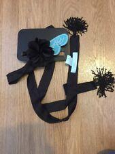 Betsy Johnson Negro Cinturón borlas y flores para bufanda 60s BNWT