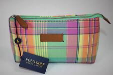 NWT POLO RALPH LAUREN Multi-Color Plaid Cloth Zip GOLF Travel/Accessory Pouch