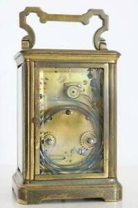 ANTIQUE FRENCH STRIKING CARRIAGE CLOCK sounding on a gong WORKING original condi