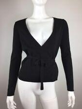 Ann Taylor LOFT Women Size XS Black Tie Wrap Knit Top Blouse Longsleeve