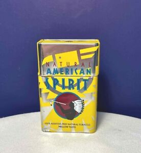 Yellow Natural American Spirit Flip Top Cigarette Pack Tin Collectors Edition