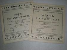 Deutschland -  2  versch. Aktien der   Holzindustrie  AG  in Ludwigsburg  1/196