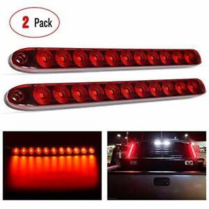 "2PCS 16"" Rear LED Bumper Reflector Brake Tail Light Signal Lamps Trailer Marker"