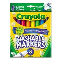 Crayola Washable Markers, Broad Line, Classic Colors, 8 Ct (Pack of 24)