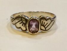 Sterling Silver Niello Purple Amethyst Wing Mount Ring Size M