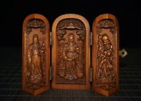 Collect boxwood carved Chinese 3 wise men gods FU,LU,SHOU figure Extension box