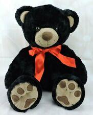 "Black Teddy Bear Plush 14"" Stuffed Animal Red Neck Bow 2016 Super Soft & Shiny"
