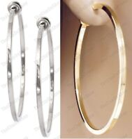 CLIP ON 6cm big GOLD/SILVER FASHION HOOPS clips HOOP EARRINGS non-pierced ears