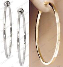 CLIP ON 6cm big GOLD/SILVER FASHION HOOPS clips HOOP EARRINGS non-pierced ears