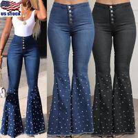Womens Beads Denim Flared Jeans High Waist Wide Leg Pants Bell Bottom Trousers