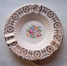 VICTORIAN ASHTRAYS (7)  GOLD TRIM & FLOWER CENTER STACKABLE