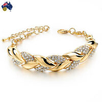 Braided Gold Bracelet Jewelry Bangle Crystal Leaf Ladies Women Fashion Stone AU