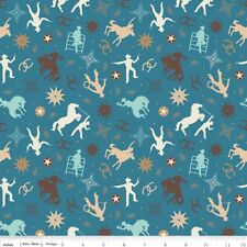 By 1/2 Yard Fabric ~ Boots & Spurs Cowboy Toss Blue ~ Horse Western Riley Blake