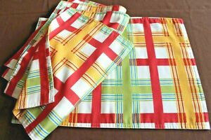 """4 Summer Bright Checked Fabric Placemats, 14"""" x 19"""""""