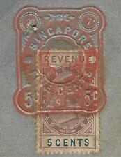 MALAYA STRAITS SETTLEMENTS (P1109B) QV 5C REVENUE ON 1891 DOCUMENT