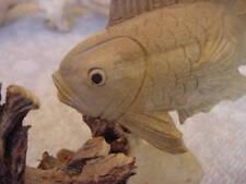 FISH, MARINE FIGURINE HAND CARVED PARASITE WOOD, BALI, INDONESIA ART SCULPTURE