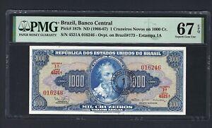 Brazil One Cruzeiros Novos ND(1966-67) P187b Uncirculated Grade 67 Top Pop