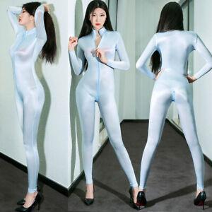 Women Sheer Super Soft Shiny Bodysuit ZIPPER Open Crotch Catsuit Jumpsuit Romper