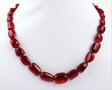 Ruby Gemstone Tumble Smooth Adorable Beaded Necklace Wedding Jewelry