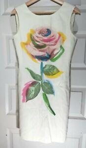 Moschino Cheap And Chic Ivory Pop Art Rose Sleeveless Knee Length Shift Dress