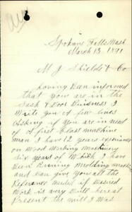 1891 Spokane Falls Washington (WA) Letter M. J. Shields & Co. G. W. Bonnel