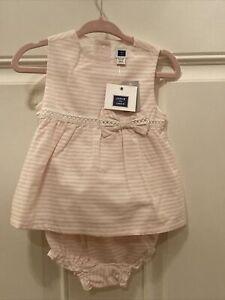 JANIE AND JACK baby girls 6-12 months pink Striped Dress 2 Piece Set 2016 NWT