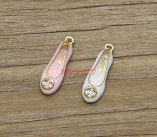 5 Red White Low-heels Shoe Charms Gold Enamel Charms Fashion Charms 31x10 1159