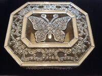 Jewellery Box White Metal Encrusted with Clear Rhinestones & Enamel Butterfly