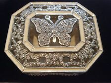 Jewellery Box White Metal Encrusted with Clear Rhinestones & Enamel Butterfly