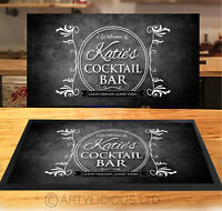 Personalised Cocktail Bar Grunge Runner MAT - Black & White Bar mat - *ANY NAME*