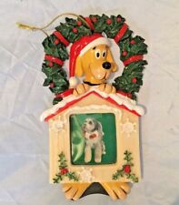 Plush Puppies Picture Frame Ornament Pet Dog Christmas Holiday Puppy NEW Memory