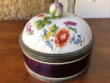 Sucrier Argent Massif Emaillé Couvercle Porcelaine Antique Box Silver Enamel