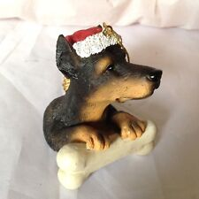 Ganz Dog Christmas tree Ornament Doberman Pinscher with Santa Hat and Bone #206